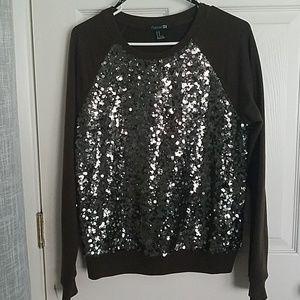Dark Olive Green Sweatshirt Style Sequin Front Top